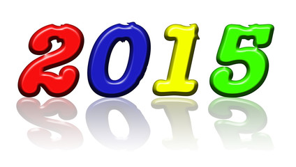 year 2015 colorful reflection background