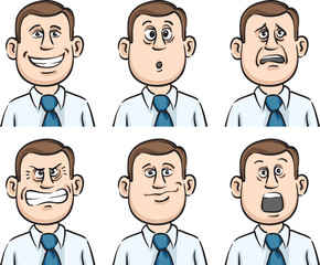 businessman many faces emotions