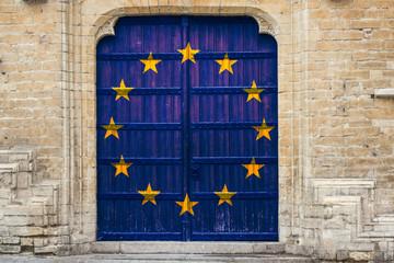 Hintergrund Europa Flagge mittelalterliche Holztür