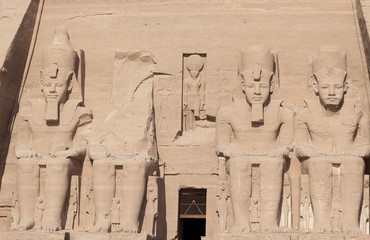 The four monumental colossi of Ramesses II at Abu Simbel
