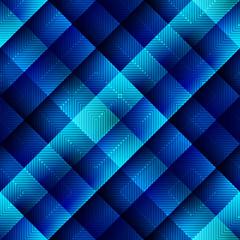 Blue geometric pattern in matrix style.