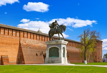 The monument to Dmitry Donskoy in Kolomna Kremlin in Moscow regi