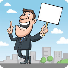 Businessman with sign speaking and pointing out something import