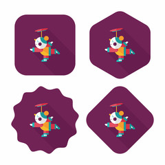 Chinese New Year Acrobatics girl flat icon with long shadow,eps1