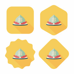Chinese New Year peaches of immortality flat icon with long shad