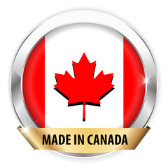 made in canada silver badge isolated button