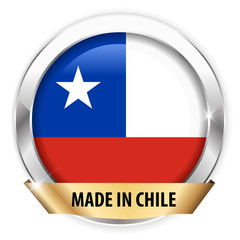 made in chile silver badge isolated button