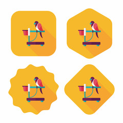 Pet parrot flat icon with long shadow, eps10