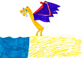 Hunting dinosaur/dragon with the fish in chaps. Child drawing. poster