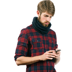 Young bearded man with mobile phone