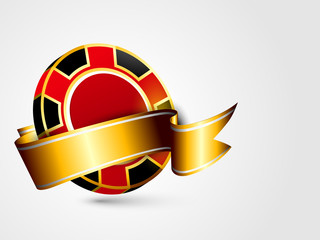 Red casino chip with ribbon.