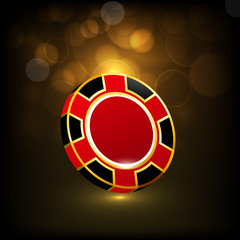 Red casino chip for club.