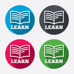 Learn Book sign icon. Education symbol.