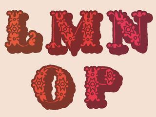 Decorative floral letters, lmnop
