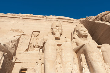 Sculptures of King Ramses II and queen Nefertari in Abu Simbel T