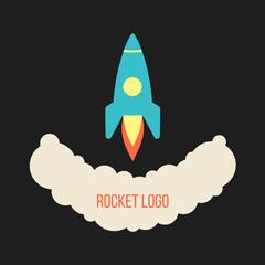 rocket launch logo isolated on black background