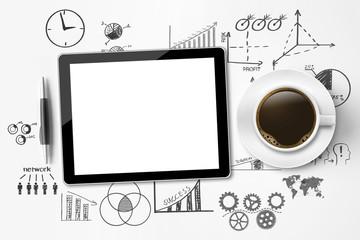 Leerer Tablet PC / Businesssymbole