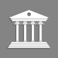 white greek colonnade isolated on dark grey background