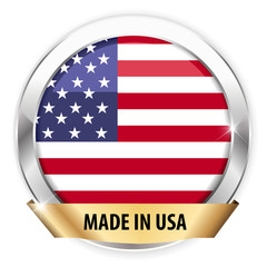 made in usa silver badge isolated button