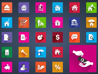 Real estate flat icons set of house valuation mortgage