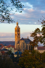 Autumnal picture of Saint Jacob church in Kutna Hora