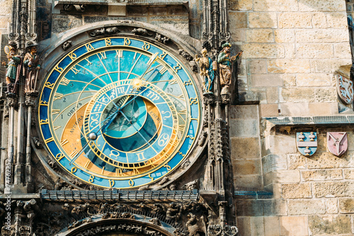 In de dag Praag Astronomical Clock In Prague, Czech Republic. Close Up Photo