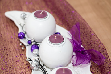 House decoration with aromatic candle violet color