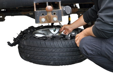 changing exploded truck wheel