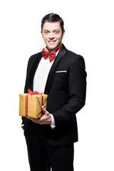 New year's eve fashion man wearing black dinner jacket with big