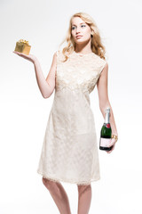 Sensual new year's eve fashion woman with blonde hair wearing go