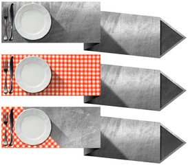 Set of Kitchen Banners with Arrows