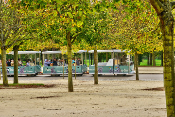 touristy train in the parc of Versailles Palace