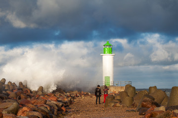 Breakwater in storm.