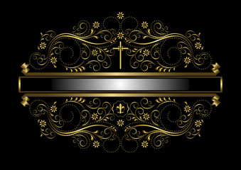 Gold frame in the framed delicate floral pattern with cross