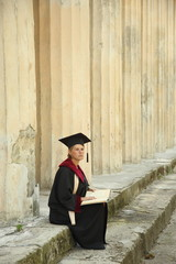 scientist woman over vintage background colonnade University