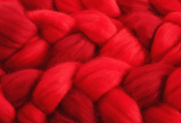 red wool for felting