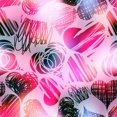 Grunge hearts on blur pink background.