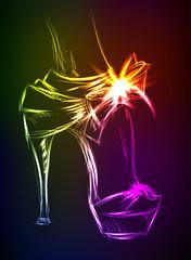 Neon illustration. Beautiful female high-heeled shoes