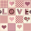 Pink patchwork with the word Love.