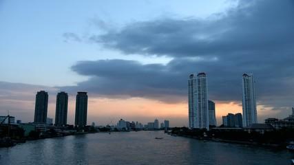Time lapse of Sunset sky at Chao Phraya river, Bangkok, Thailand