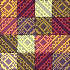 Patchwork pattern with the decorative embroidery.