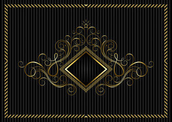 Golden square frame with calligraphic design
