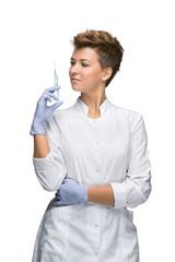 Portrait of lady surgeon showing syringe