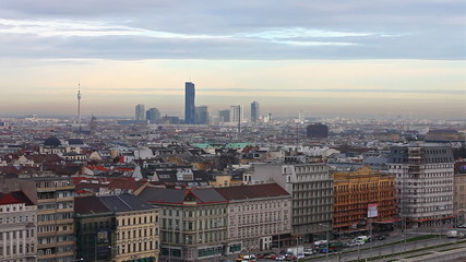 Sunset above Vienna with view to the Skyline of the Danube City