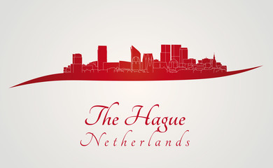 The Hague skyline in red