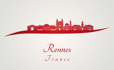 Rennes skyline in red