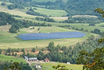 Solar panels in a meadow