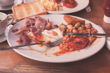 Traditional english breakfast in cafe