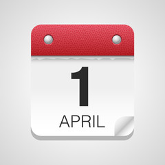 Vector calendar icon 1 April - April Fools' Day