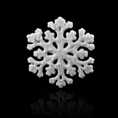 White Snowflake on black background. Winter symbol